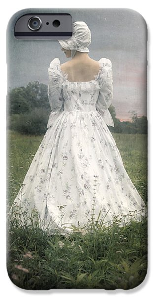 Bucolic iPhone Cases - Woman With Bonnet iPhone Case by Joana Kruse