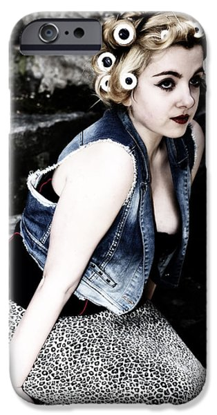 Denim iPhone Cases - Woman With Curlers iPhone Case by Joana Kruse