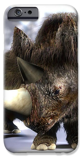 Woolly Rhinoceros iPhone Case by Christian Darkin