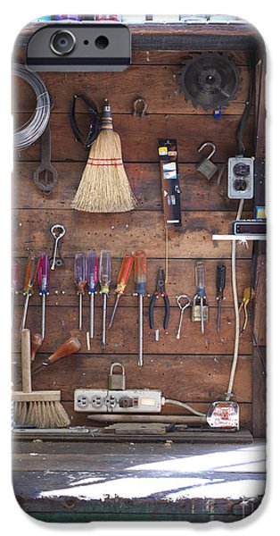 Diy iPhone Cases - Work Bench and Tools iPhone Case by Adam Crowley