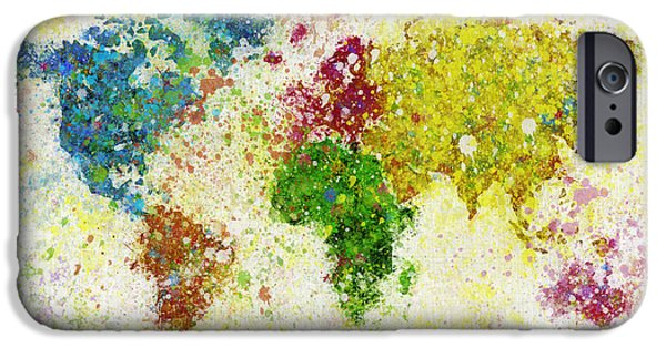Dirty iPhone Cases - World Map Painting iPhone Case by Setsiri Silapasuwanchai