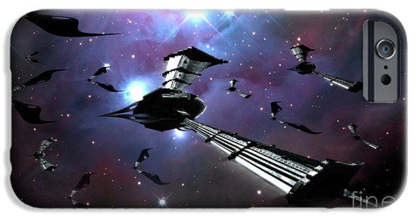 Intergalactic Space iPhone Cases - Xeelee Nightfighters, Inspired iPhone Case by Rhys Taylor