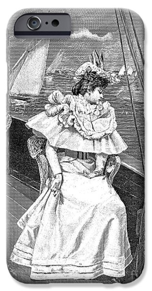 Upper Deck iPhone Cases - Yachting Costume, 1894 iPhone Case by Granger