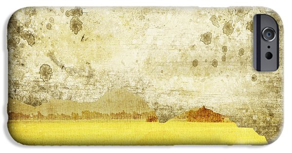 Torn iPhone Cases - Yellow Field On Old Grunge Paper iPhone Case by Setsiri Silapasuwanchai