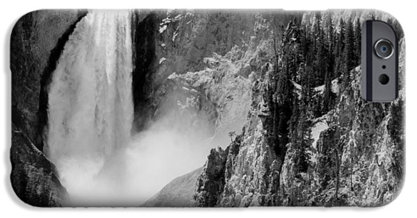 White Mountains iPhone Cases - Yellowstone Waterfalls in Black and White iPhone Case by Sebastian Musial