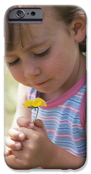 Young Girl With A Flower iPhone Case by Ian Boddy