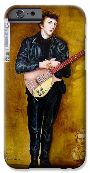 Beatles iPhone Cases - young John Lennon Silver Beatles iPhone Case by Leland Castro