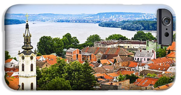 Roof iPhone Cases - Zemun rooftops in Belgrade iPhone Case by Elena Elisseeva