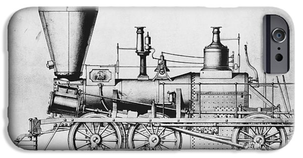 Nineteenth iPhone Cases - 19th Century Locomotive iPhone Case by Omikron