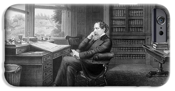 Bookcase iPhone Cases - Charles Dickens (1812-1870) iPhone Case by Granger