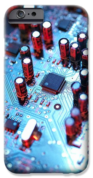 Electrical Component iPhone Cases - Circuit Board iPhone Case by Tek Image