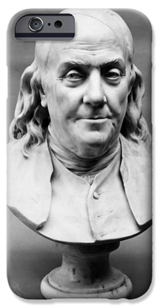 Statue Portrait iPhone Cases - Benjamin Franklin (1706-1790) iPhone Case by Granger