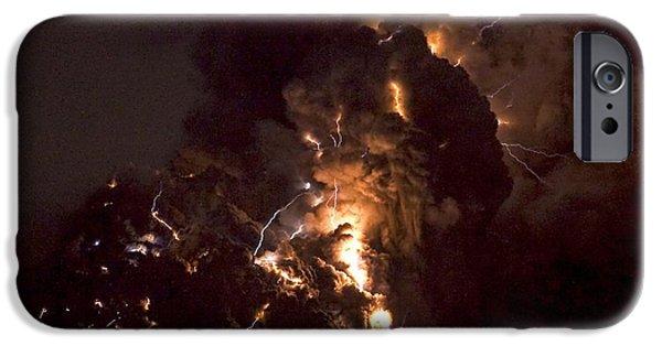 Electrical iPhone Cases - Volcanic Lightning, Iceland, April 2010 iPhone Case by Olivier Vandeginste