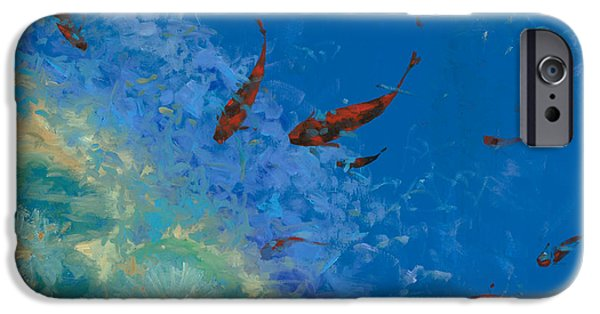Blue And Red Paintings iPhone Cases - 13 Pesciolini Rossi iPhone Case by Guido Borelli