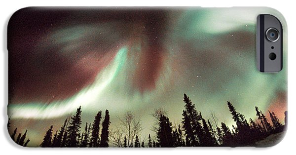 Observer iPhone Cases - Aurora Borealis iPhone Case by Chris Madeley