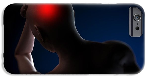 Hand On Head iPhone Cases - Headache, Conceptual Artwork iPhone Case by Sciepro