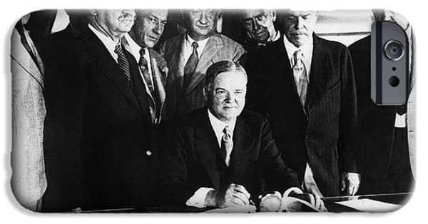 Oval Office iPhone Cases - Herbert Hoover (1874-1964) iPhone Case by Granger