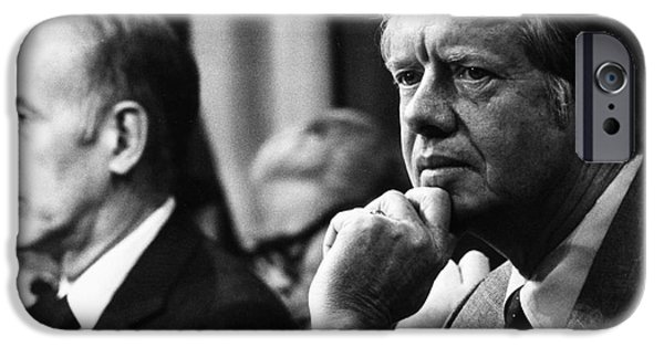 Press Conference iPhone Cases - Jimmy Carter (1924- ) iPhone Case by Granger