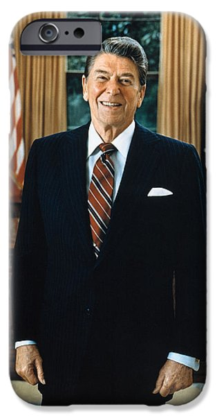Oval Office iPhone Cases - Ronald Reagan (1911-2004) iPhone Case by Granger