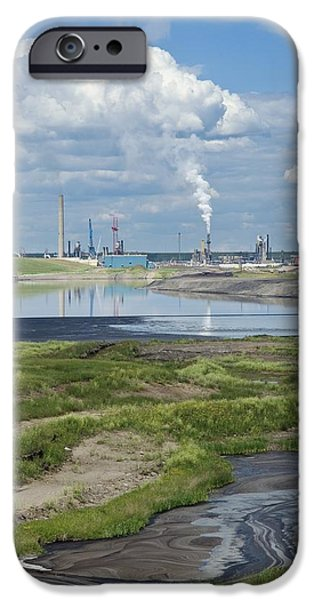 Oil Reserves iPhone Cases - Oil Industry Pollution iPhone Case by David Nunuk