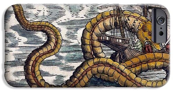 Serpent iPhone Cases - 1558 Gessner Sea Serpent Attacks Ship Cu iPhone Case by Paul D Stewart