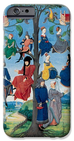 Genealogy iPhone Cases - 15th-century Family Tree iPhone Case by Photo Researchers