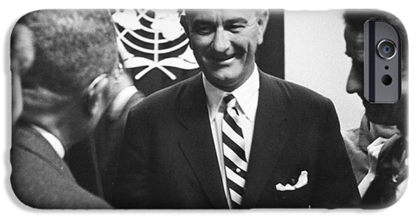 Press Conference iPhone Cases - Lyndon Baines Johnson iPhone Case by Granger