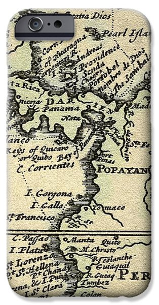 1698 W. Dampier Pirate Naturalist Map iPhone Case by Paul D Stewart