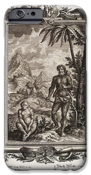 1731 Johann Scheuchzer Hairy Esau Bible iPhone Case by Paul D Stewart