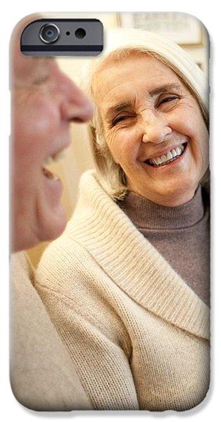 Senior Men iPhone Cases - Happy Senior Couple iPhone Case by