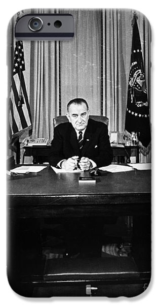Oval Office iPhone Cases - Lyndon Baines Johnson iPhone Case by Granger