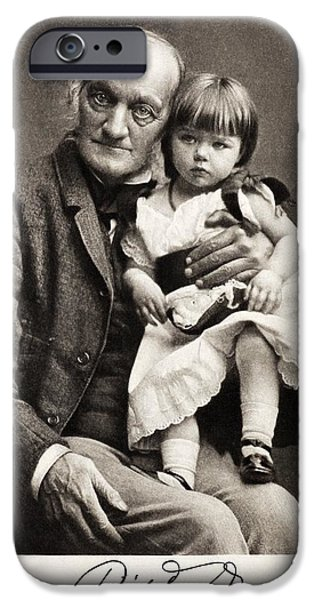 Moa iPhone Cases - 1880s Sir Richard Owen And Grandaughter iPhone Case by Paul D Stewart