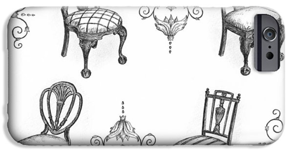 Chair Drawings iPhone Cases - 18th Century English Chairs iPhone Case by Adam Zebediah Joseph