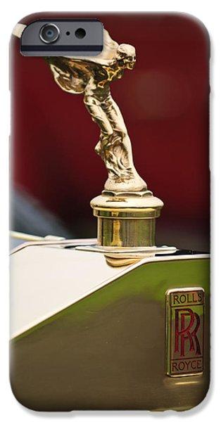 Barker iPhone Cases - 1912 Rolls-Royce Silver Ghost Barker Style Tourer Hood Ornament iPhone Case by Jill Reger