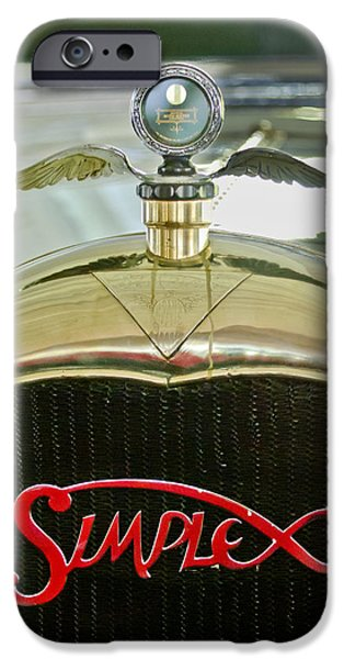 1916 Photographs iPhone Cases - 1916 Crane-Simplex Model 5 Seven-Passenger Touring Hood Ornament iPhone Case by Jill Reger