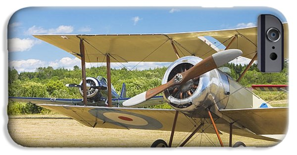 1916 Photographs iPhone Cases - 1916 Sopwith Pup Biplane On Airfield Canvas Photo Poster Print iPhone Case by Keith Webber Jr