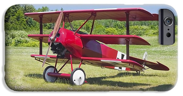 World War One Photographs iPhone Cases - 1917 Fokker Dr.1 Triplane Red Barron Canvas Photo Print Poster iPhone Case by Keith Webber Jr