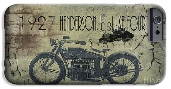 Transportation Digital Art iPhone Cases - 1927 Henderson Vintage Motorcycle iPhone Case by Cinema Photography