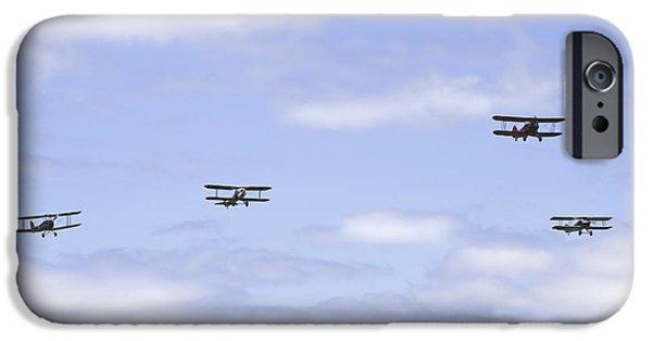 Aeronautics iPhone Cases - 1931 Waco UBF2 1917 SPAD XIIIcI1917 NIEUPORT 28C1 and De Havilland DH82A Tiger Moth Photo Print iPhone Case by Keith Webber Jr
