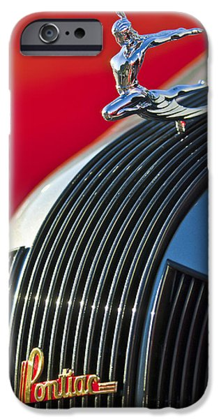 1935 Pontiac Sedan Hood Ornament iPhone Case by Jill Reger