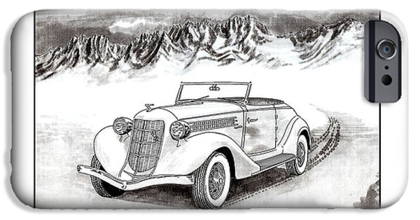 Pen And Ink Framed Prints iPhone Cases - 1936 Auburn 810 iPhone Case by Jack Pumphrey