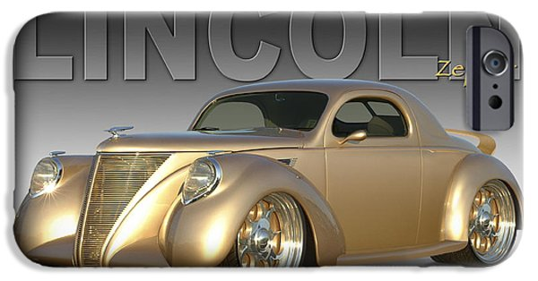 Lincoln Digital Art iPhone Cases - 1937 Lincoln Zephyr iPhone Case by Mike McGlothlen