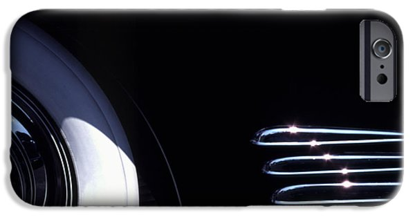 Vintage Cars iPhone Cases - 1938 Cadillac Limo with Chrome Strips iPhone Case by Anna Lisa Yoder