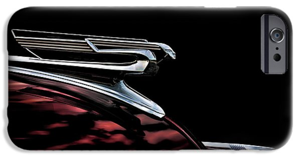 Chrome iPhone Cases - 1940 Chevy Hood Ornament take 2 iPhone Case by Douglas Pittman