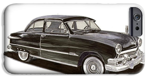 Pen And Ink Framed Prints iPhone Cases - 1951 Ford 2 dr Sedan iPhone Case by Jack Pumphrey