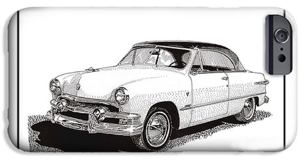 Pen And Ink Framed Prints iPhone Cases - 1951 Ford Victoria Hardtop iPhone Case by Jack Pumphrey