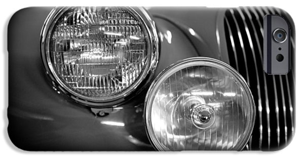 Best Sellers -  - Old Cars iPhone Cases - 1952 Jaguar Headlights iPhone Case by Sebastian Musial