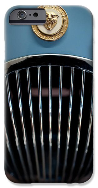 Old Cars iPhone Cases - 1952 Jaguar Hood Ornament and Grille iPhone Case by Sebastian Musial