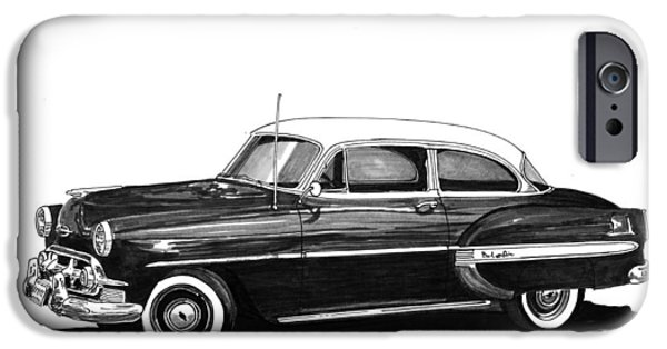 Pen And Ink iPhone Cases - 1953 Chevrolet Post 2 dr sedan iPhone Case by Jack Pumphrey
