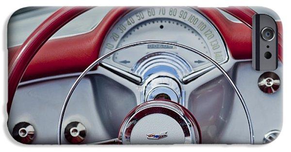 Automotive iPhone Cases - 1954 Chevrolet Corvette Steering Wheel iPhone Case by Jill Reger